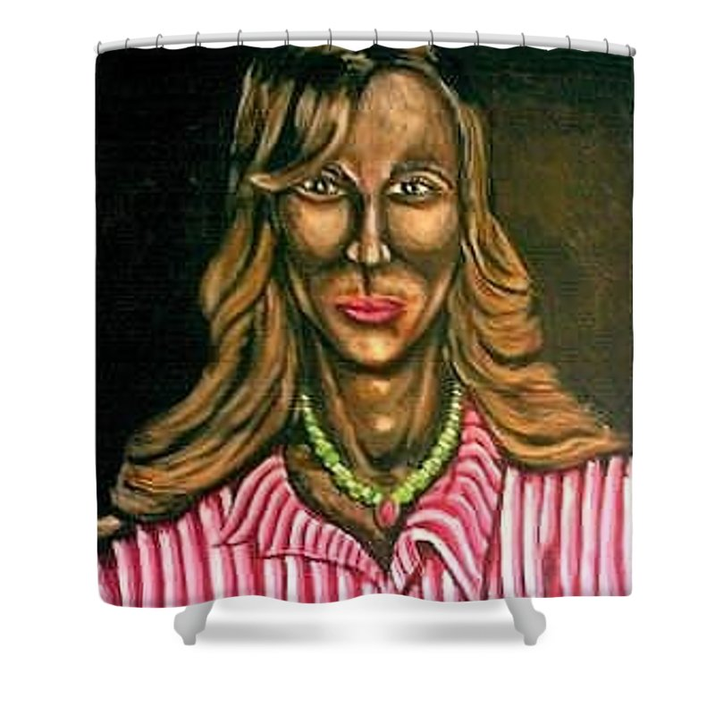 Art. Painting Of Woman Shower Curtain featuring the painting Bizz by Andrew Johnson