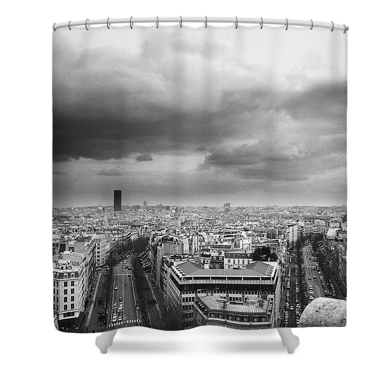 Black Color Shower Curtain featuring the photograph Black And White Aerial View Of An by Stockbyte