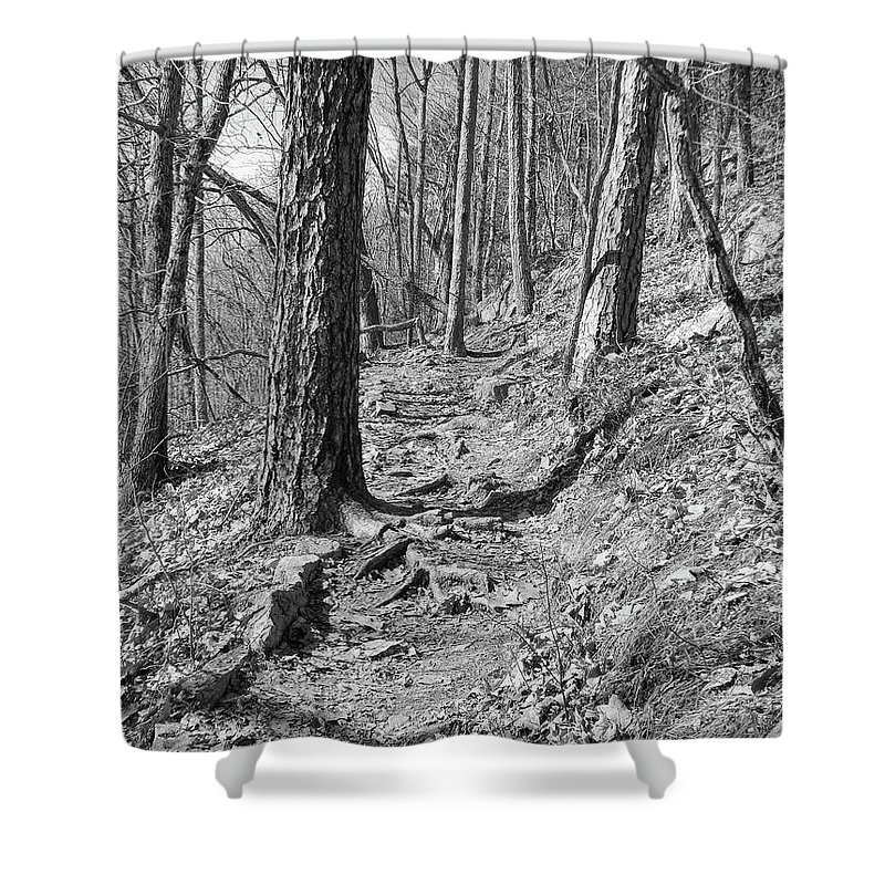 Black And White Shower Curtain featuring the photograph Black And White Mountain Trail by Phil Perkins