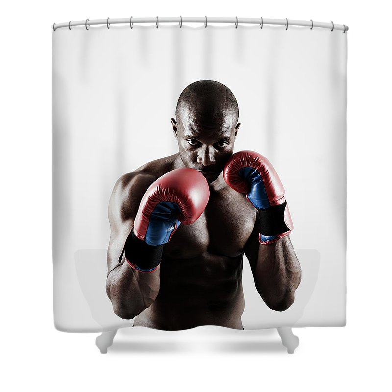People Shower Curtain featuring the photograph Black Male Boxer In Boxing Stance by Mike Harrington