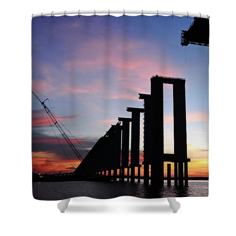 Tranquility Shower Curtain featuring the photograph Black River Bridge by Fabionutti