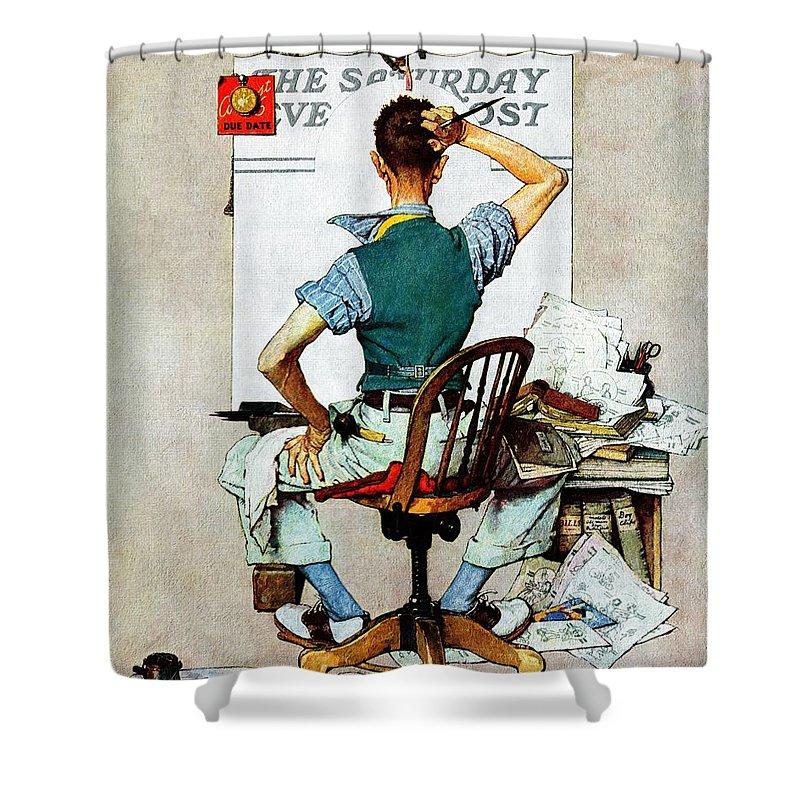 Artists Shower Curtain featuring the drawing blank Canvas by Norman Rockwell