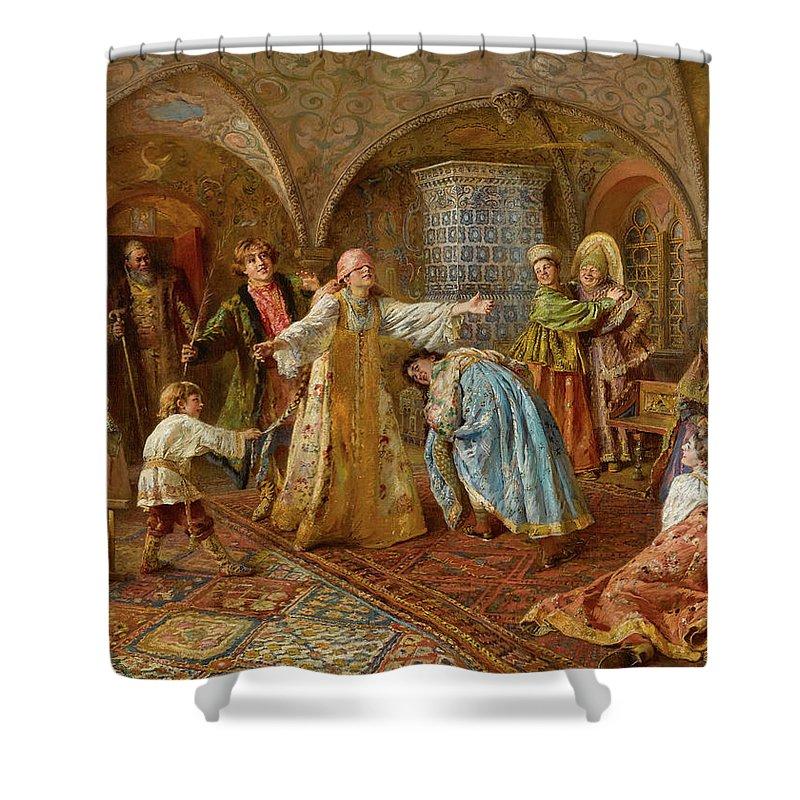 Konstantin Makovsky Shower Curtain featuring the painting Blind Man's Bluff by Konstantin Makovsky