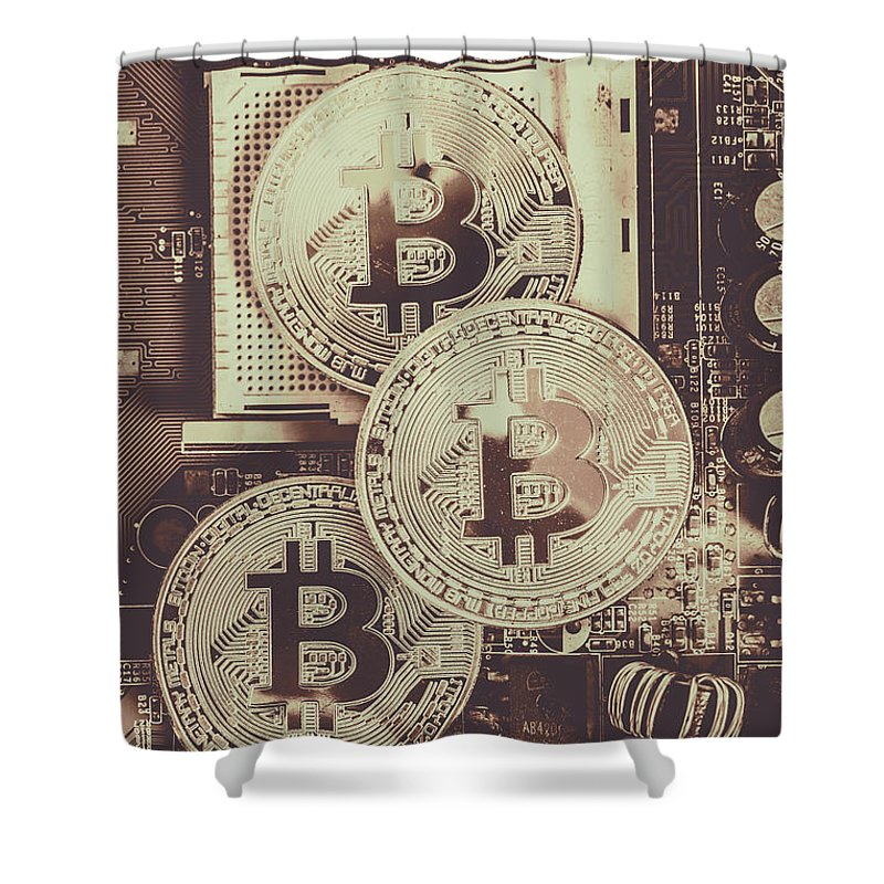 Digital Shower Curtain featuring the photograph Blocks Of Bitcoin by Jorgo Photography - Wall Art Gallery