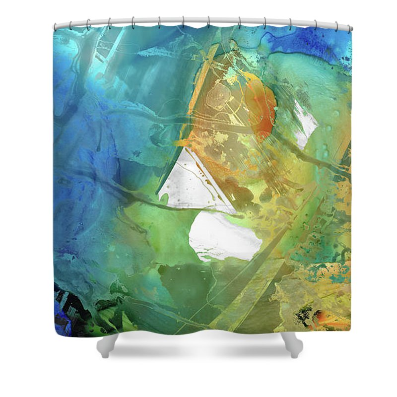 Blue Shower Curtain featuring the painting Blue And Orange Abstract Art - Good Vibrations - Sharon Cummings by Sharon Cummings