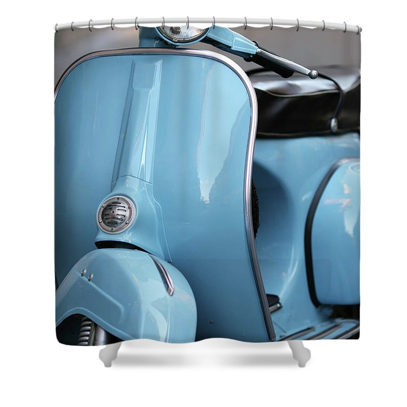 Cool Attitude Shower Curtain featuring the photograph Blue Italian Vintage Scooter In Rome by Romaoslo