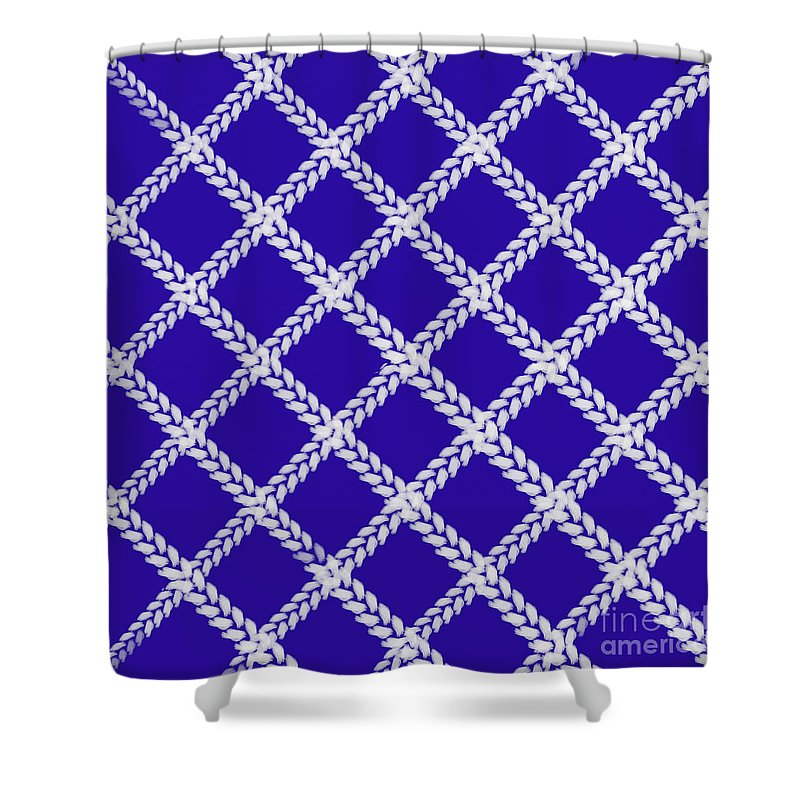 Blue Knit Shower Curtain featuring the digital art Blue Knit by Priscilla Wolfe