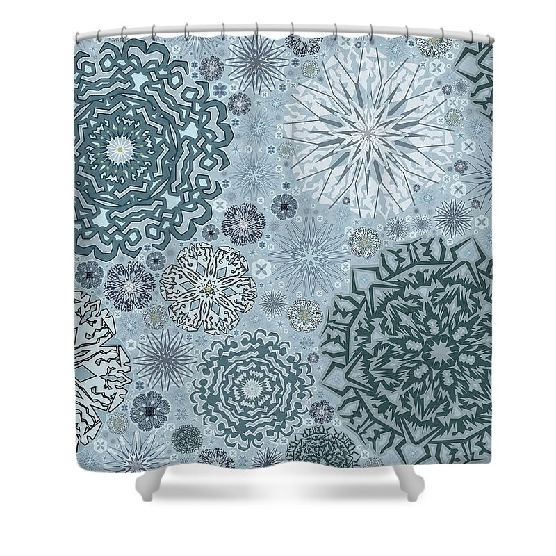 Art Shower Curtain featuring the digital art Blue Snowflake Pattern by Bodhi Hill