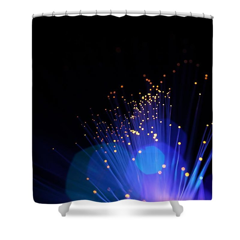 Funky Shower Curtain featuring the photograph Blue Sparkle Lights by Merrymoonmary