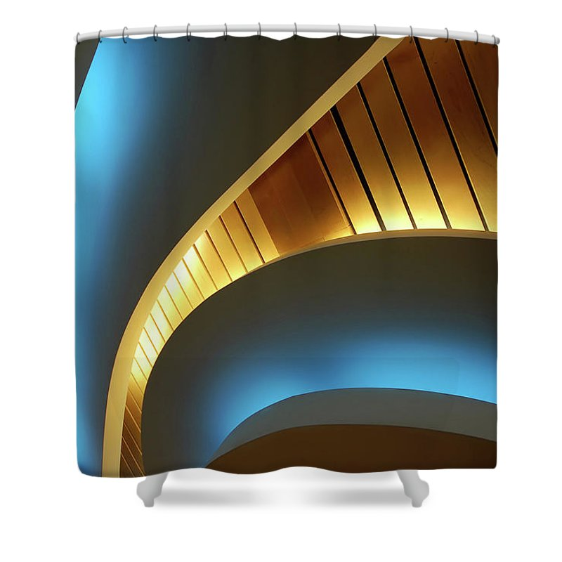 Curve Shower Curtain featuring the photograph Blue Swirl by Copyright Ralph Grunewald