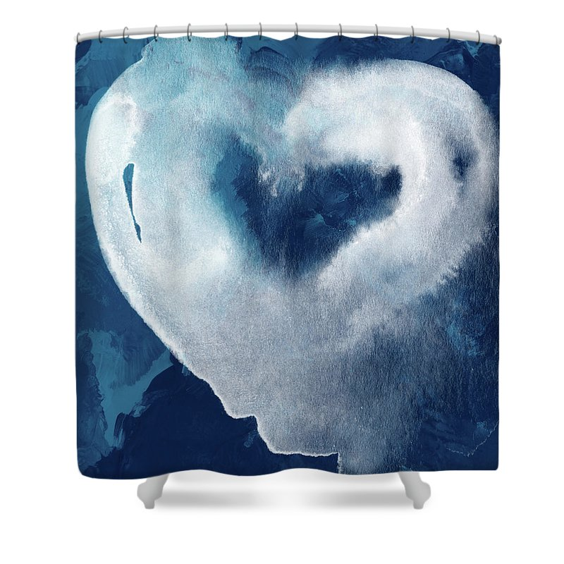 Heart Shower Curtain featuring the mixed media Blue Valentine- Art By Linda Woods by Linda Woods