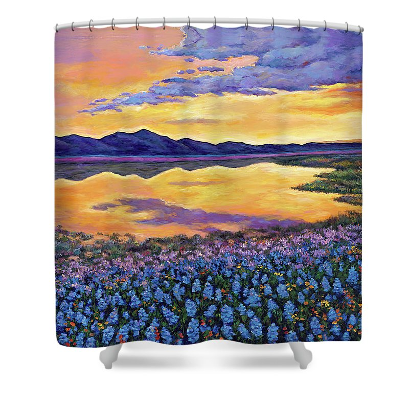 Southwestern Landscape Shower Curtain featuring the painting Bluebonnet Rhapsody by Johnathan Harris