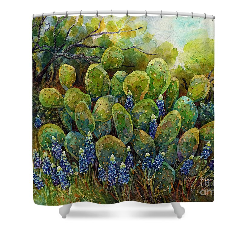 Cactus Shower Curtain featuring the painting Bluebonnets And Cactus 2 by Hailey E Herrera