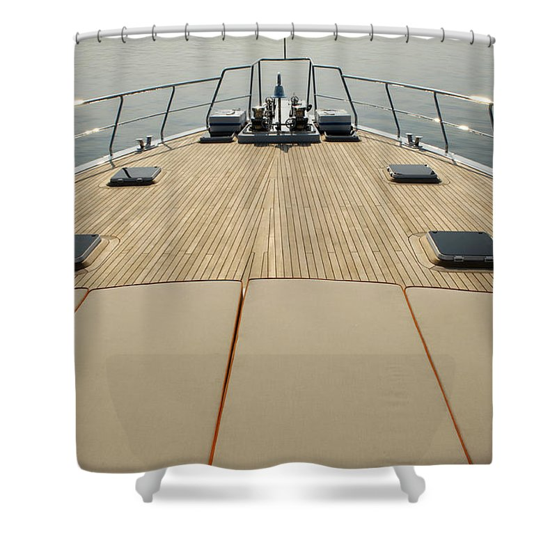 Seascape Shower Curtain featuring the photograph Boat Deck by 1001nights