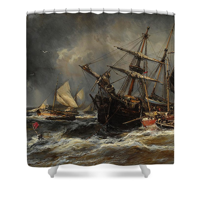 Eugene Isabey Shower Curtain featuring the painting Boats In The Storm by Eugene Isabey