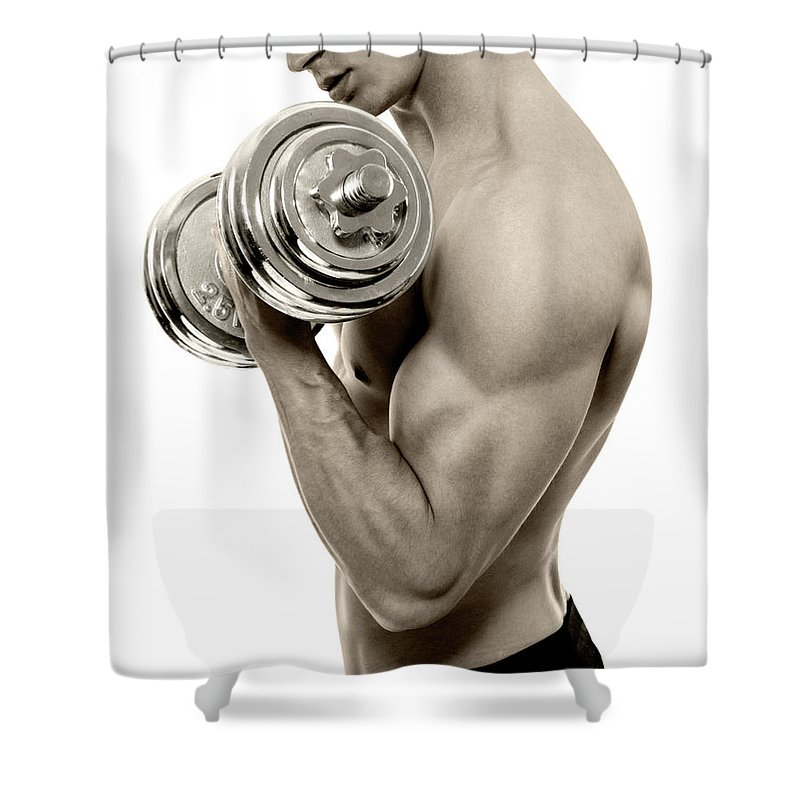 Young Men Shower Curtain featuring the photograph Body Builder Exercising by Gilaxia