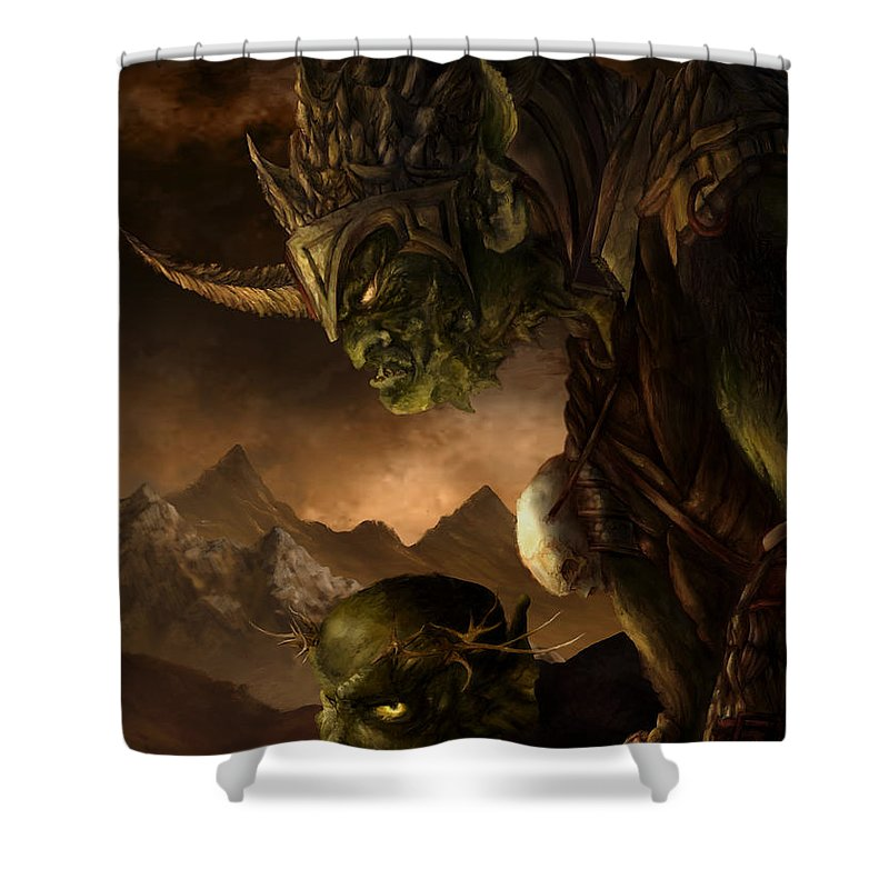 Goblin Shower Curtain featuring the mixed media Bolg The Goblin King by Curtiss Shaffer