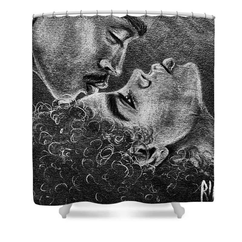 Marriage Shower Curtain featuring the drawing Bone of my Bone by Artist RiA