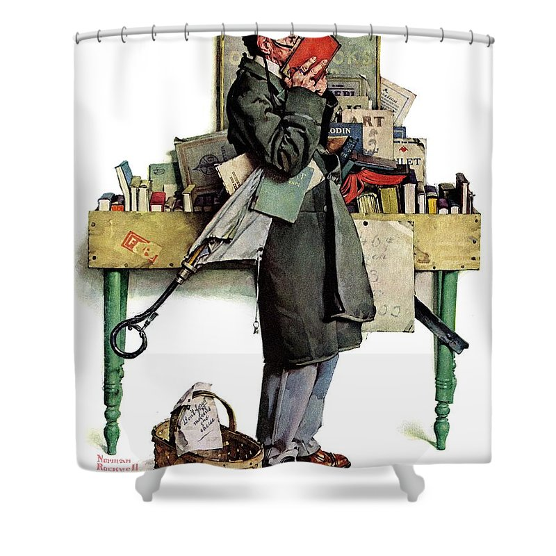 Books Shower Curtain featuring the drawing Bookworm by Norman Rockwell