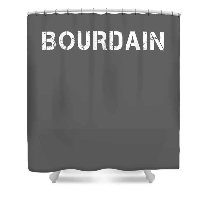 boys' Novelty Clothing Shower Curtain featuring the digital art Bourdain by Unique Tees