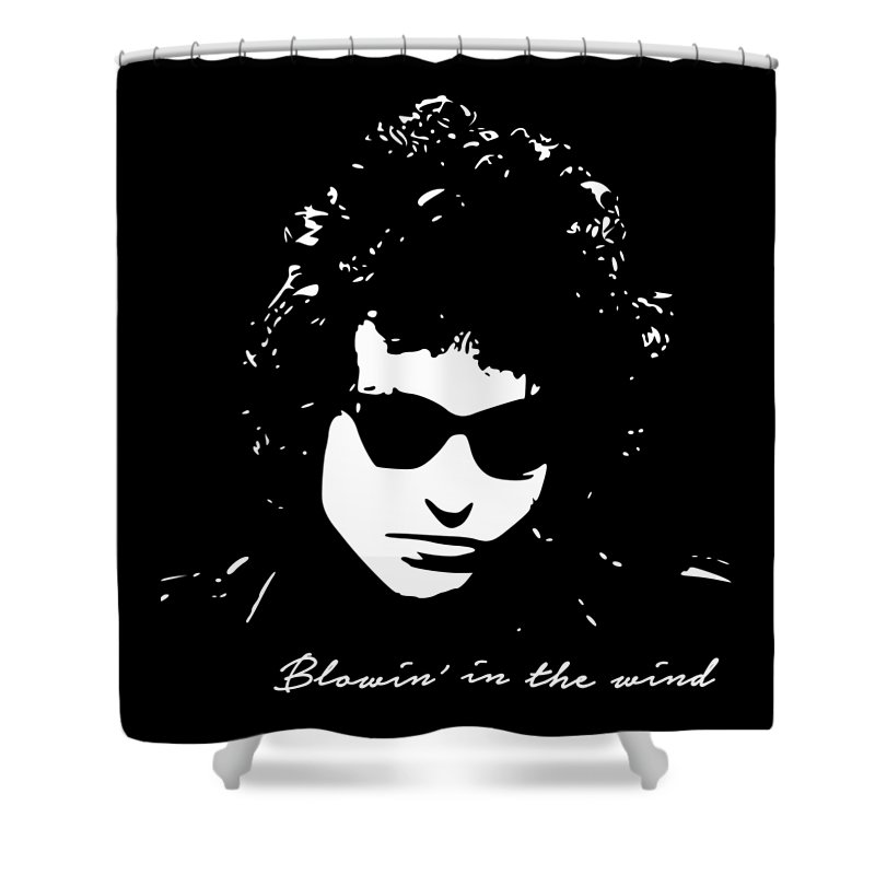 Bob Dylan Shower Curtain featuring the digital art Bowin' In The Wind by Filip Schpindel