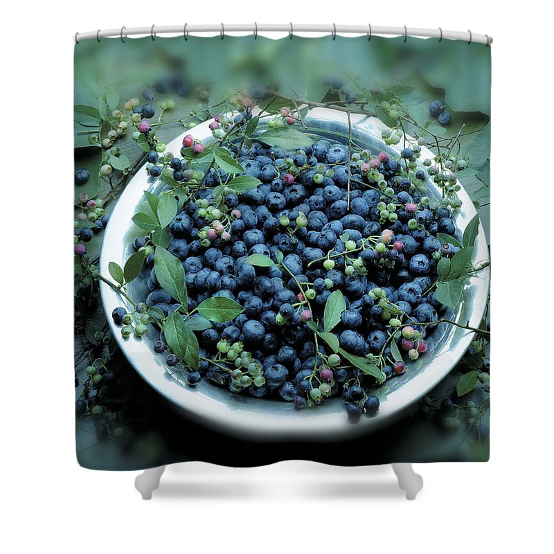 Crockery Shower Curtain featuring the photograph Bowl Of Blueberries by Atu Images