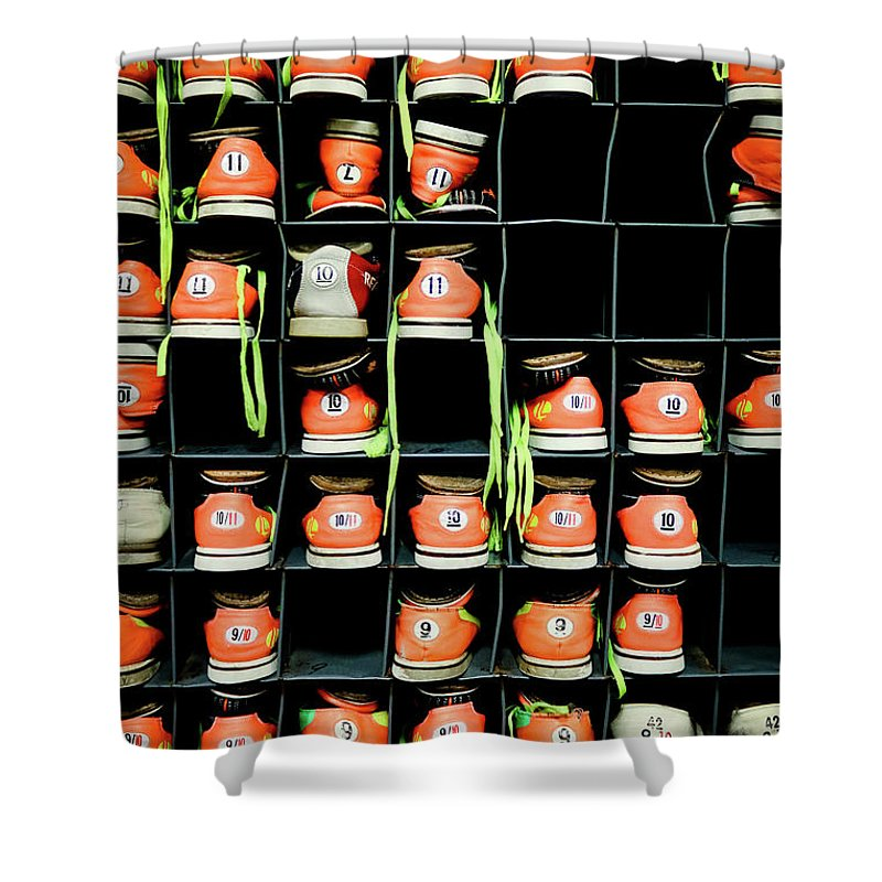 Orange Color Shower Curtain featuring the photograph Bowling Shoes by Christian Bird