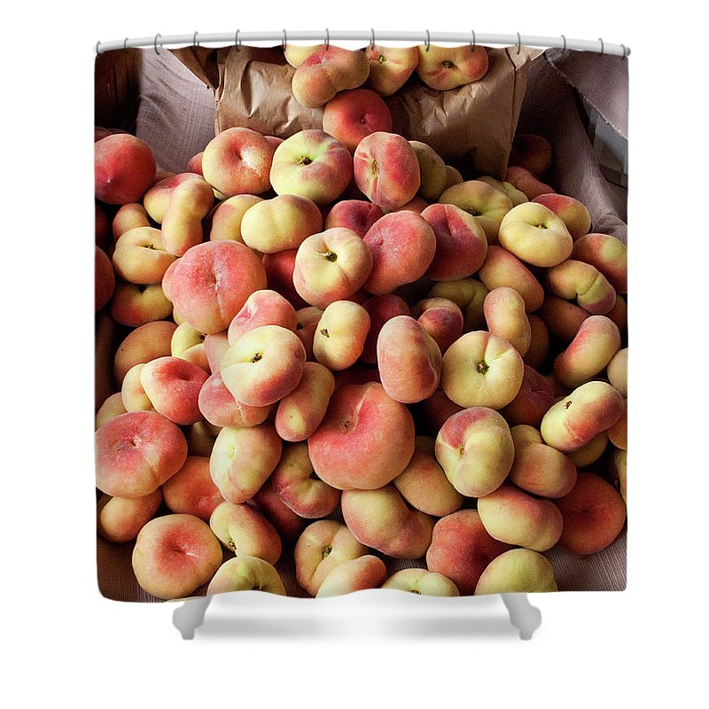 Retail Shower Curtain featuring the photograph Box Of Donut Peaches At A Farmers Market by Bill Boch
