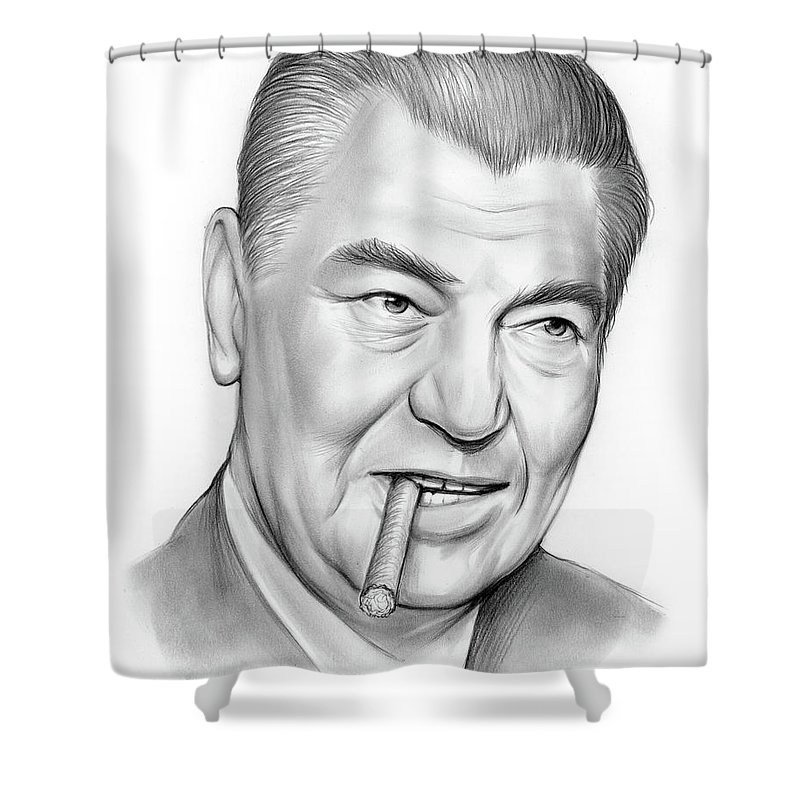 Pencil Shower Curtain featuring the drawing Boxer Jack Dempsey by Greg Joens