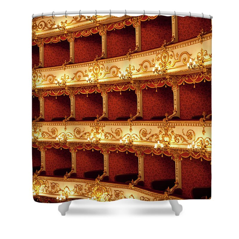 Event Shower Curtain featuring the photograph Boxes Of Italian Antique Theater by Naphtalina