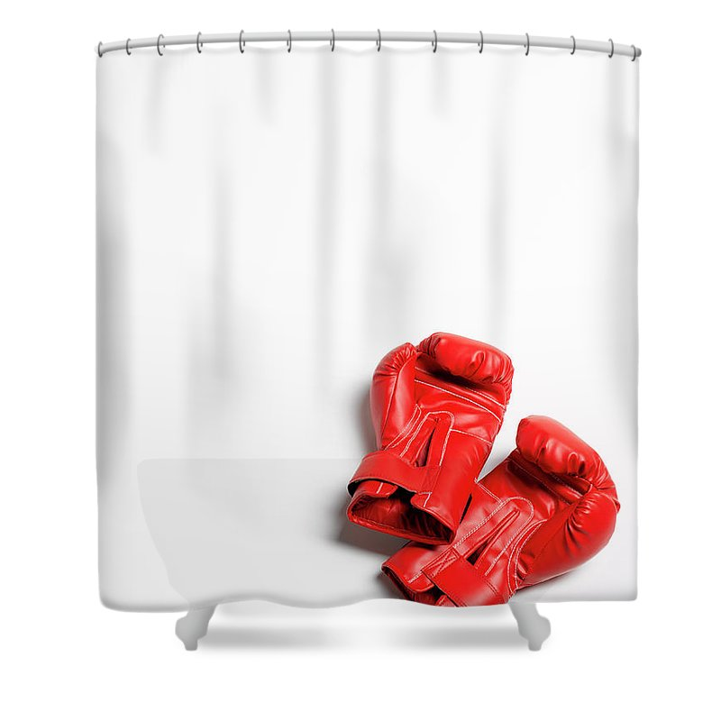 The End Shower Curtain featuring the photograph Boxing Gloves On White Background by Peter Dazeley