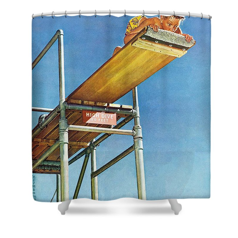 Boy Shower Curtain featuring the drawing Boy On High Dive by Norman Rockwell