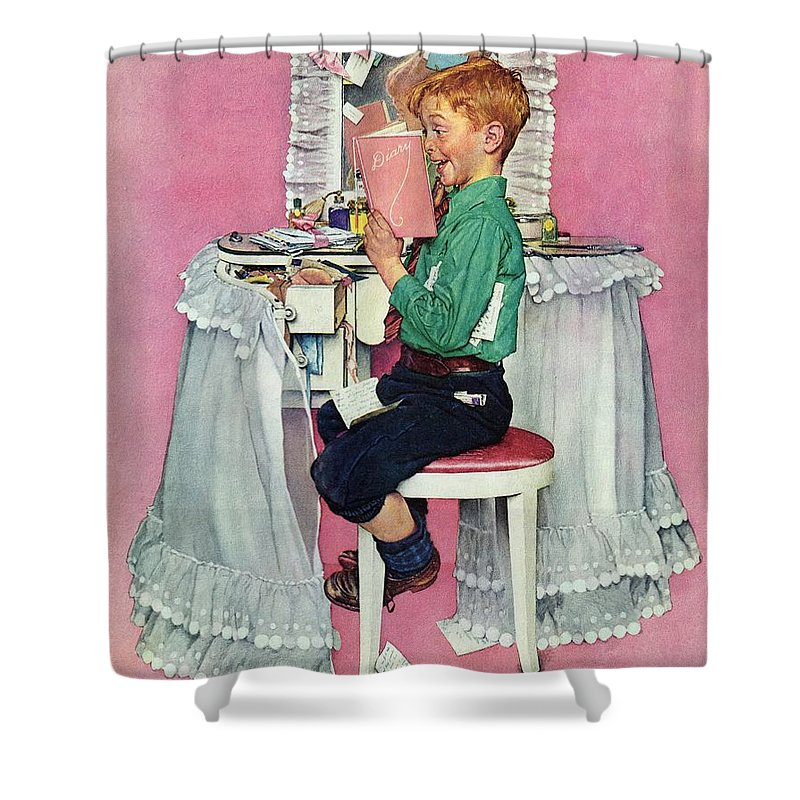 Boy Shower Curtain featuring the drawing boy Reading His Sister's Diary by Norman Rockwell