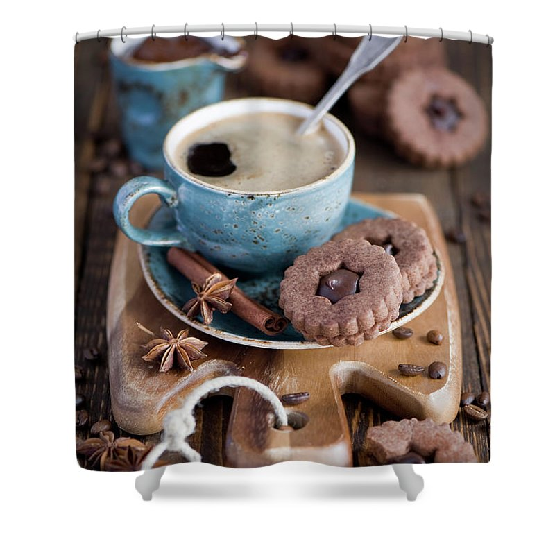 Breakfast Shower Curtain featuring the photograph Breakfast Coffee And Chocolate Cookies by Verdina Anna