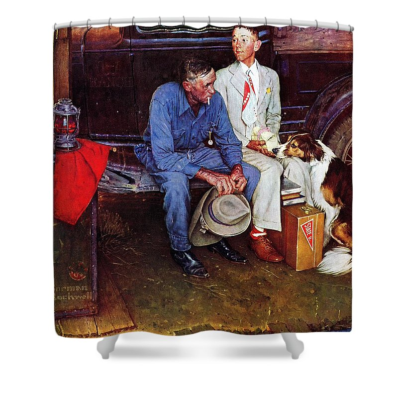 College Shower Curtain featuring the drawing Breaking Home Ties by Norman Rockwell