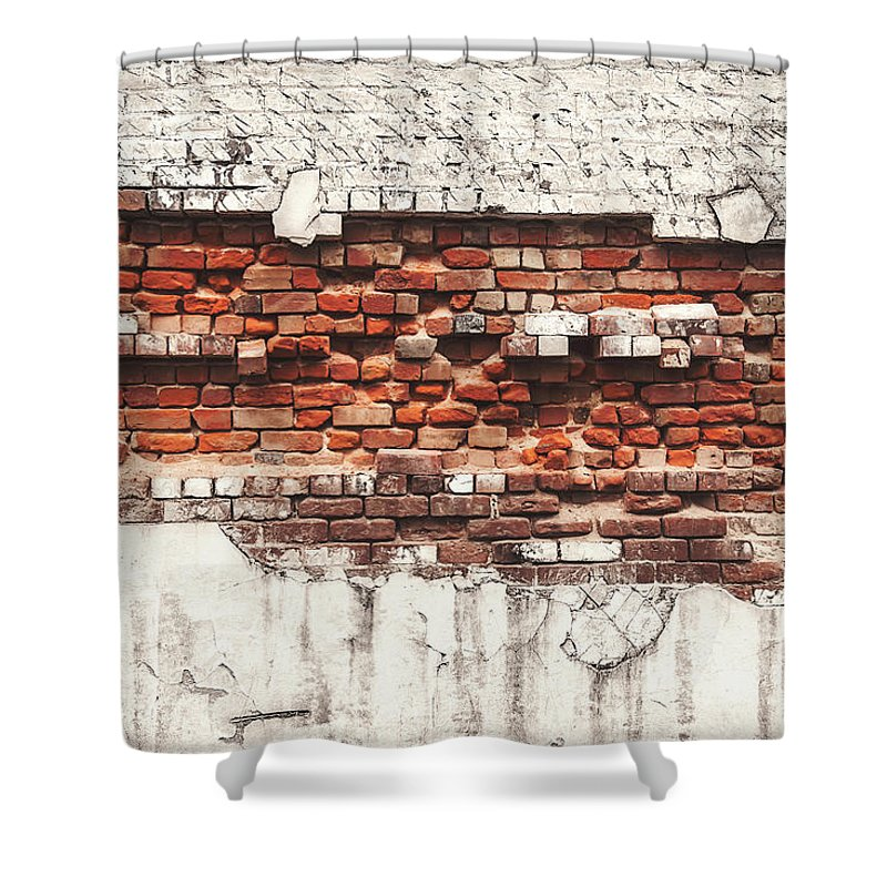 Tranquility Shower Curtain featuring the photograph Brick Wall Falling Apart by Ty Alexander Photography