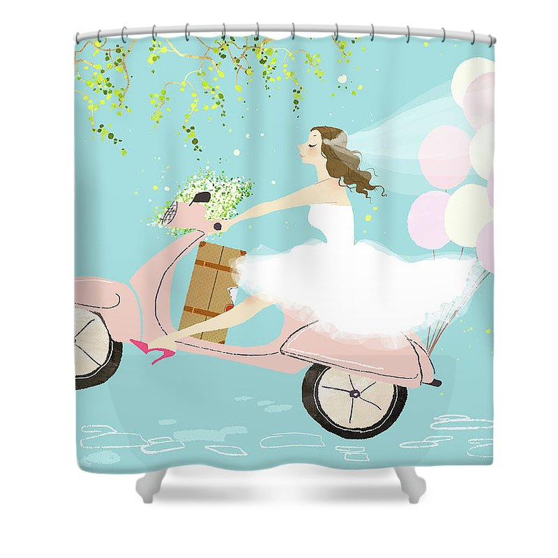 People Shower Curtain featuring the digital art Bride On Scooter by Eastnine Inc.
