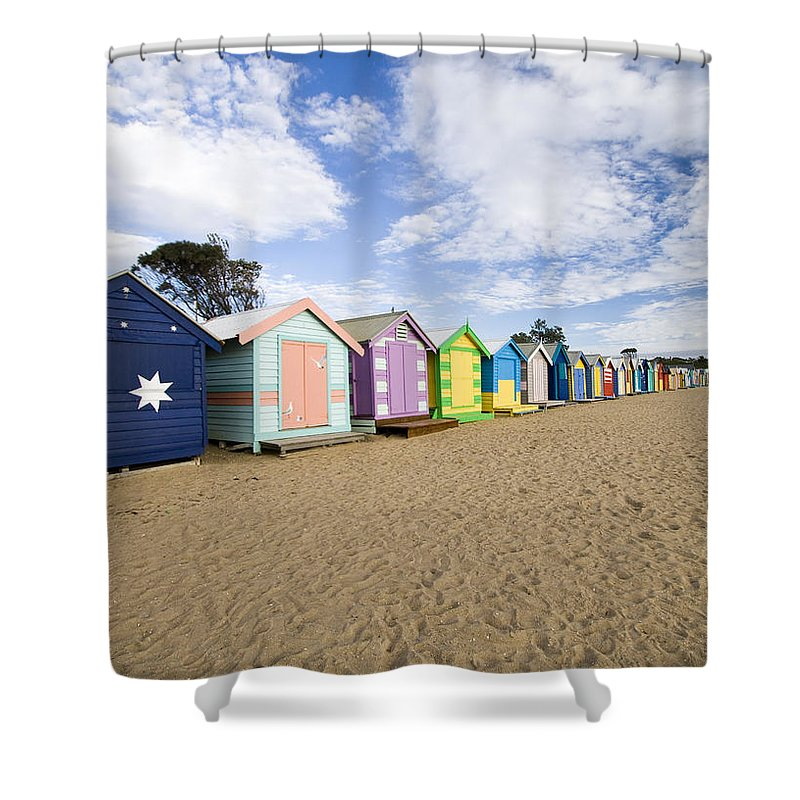 Steps Shower Curtain featuring the photograph Brighton Beach Huts by Samvaltenbergs