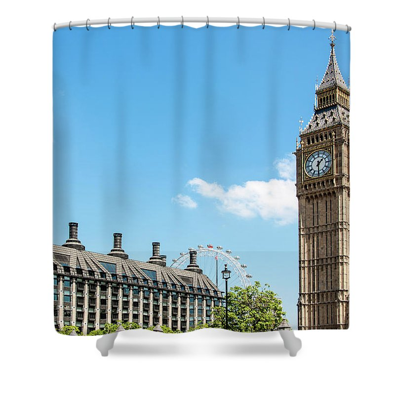 Clock Tower Shower Curtain featuring the photograph British Government by Chris Mansfield
