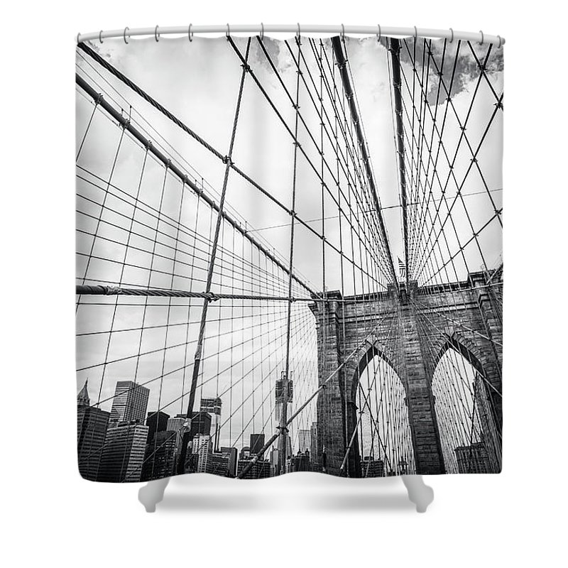 Downtown District Shower Curtain featuring the photograph Brooklyn Bridge And New York Skyline by Cirano83