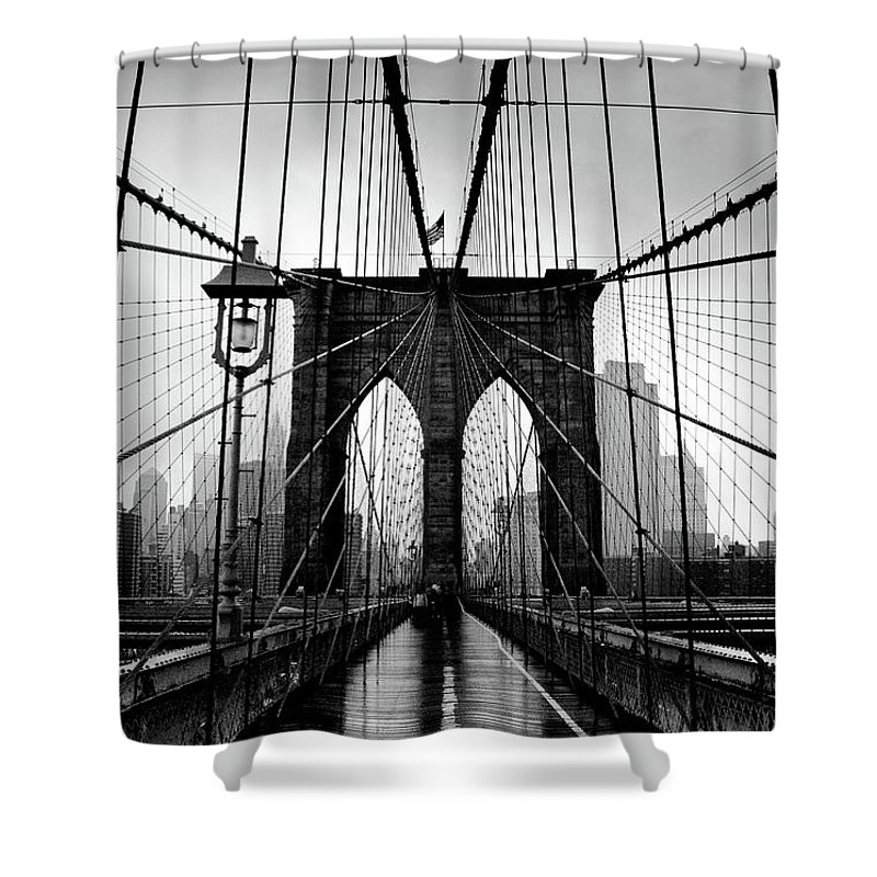 Clear Sky Shower Curtain featuring the photograph Brooklyn Bridge by Serhio.com Photography By Sergei Yahchybekov
