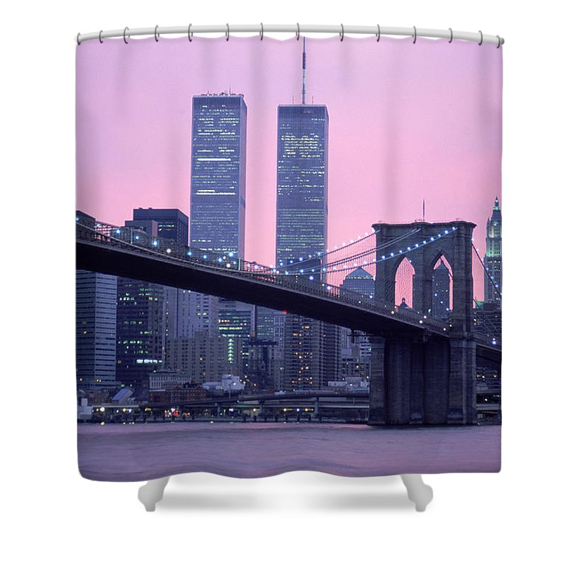 Dawn Shower Curtain featuring the photograph Brooklyn Bridge, Twin Towers, Nyc, Ny by Barry Winiker