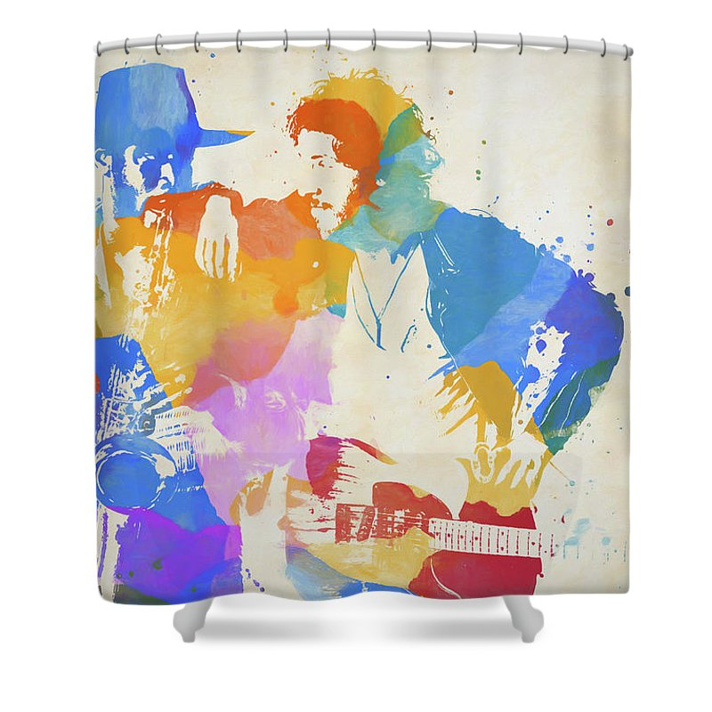 Bruce And The Big Man Shower Curtain featuring the painting Bruce And The Big Man Watercolor Splatter by Dan Sproul
