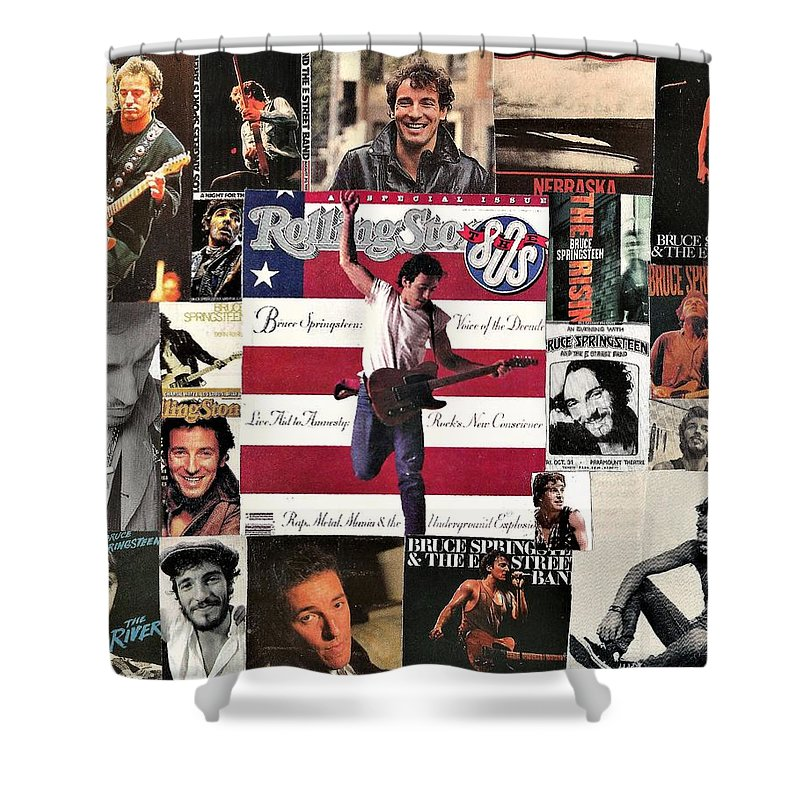Collage Shower Curtain featuring the digital art Bruce Springsteen Collage 1 by Doug Siegel