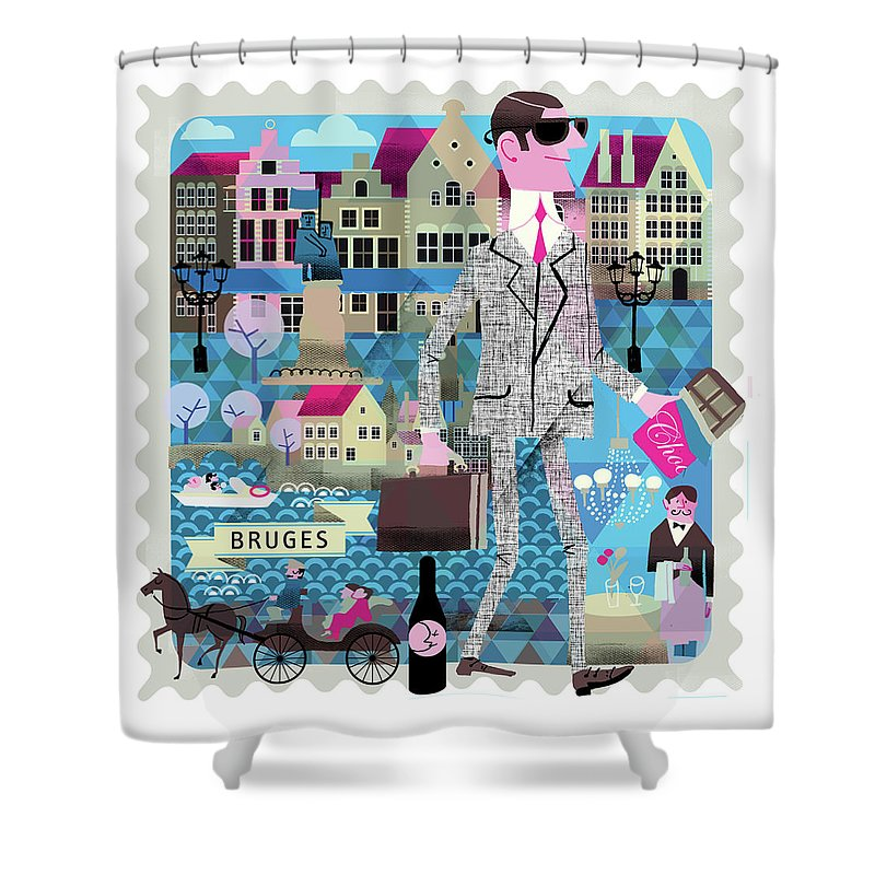 Belgium Shower Curtain featuring the digital art Bruges by Luciano Lozano