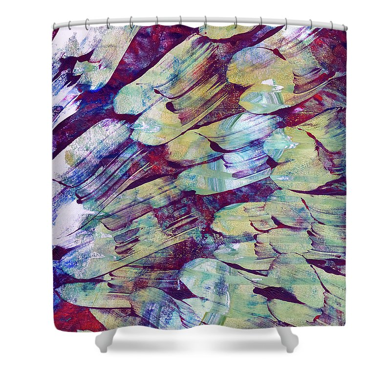 Abstract Shower Curtain featuring the painting Brushstrokes Featured by Laura L Leatherwood
