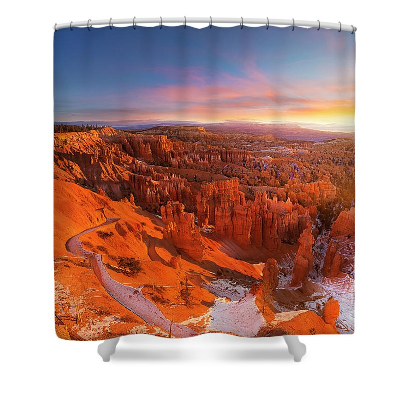 Scenics Shower Curtain featuring the photograph Bryce Canyon National Park At Sunset by Ankit Saxena