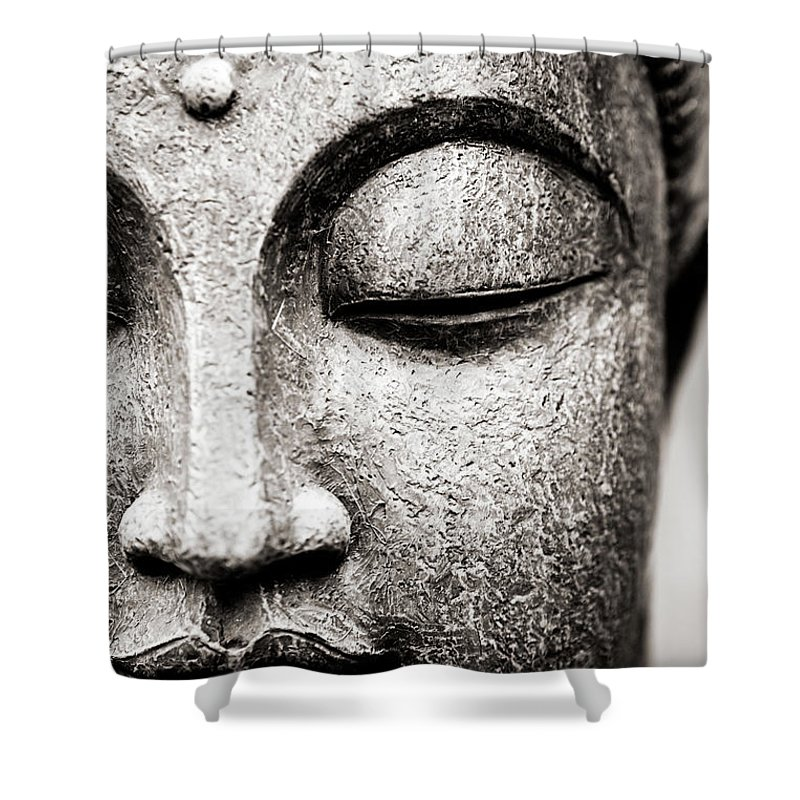 Statue Shower Curtain featuring the photograph Buddha Face by Maodesign