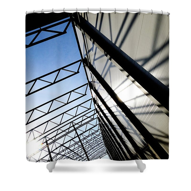 Shadow Shower Curtain featuring the photograph Building Abstract by Maximgostev