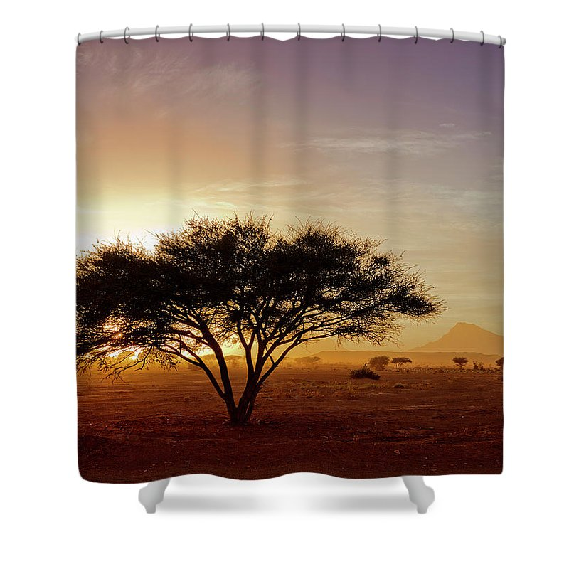 Tranquility Shower Curtain featuring the photograph Burning Desert by Bernd Schunack